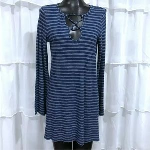 Max studio blue striped casual bell sleeve dress S